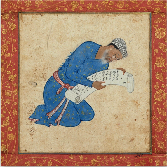 Image V- Artist Mir Sayyid Ali, Portrait of his father Mir Musavvir, Musee Guimet, Paris, 1565-70. (In this miniature, the spectacles comprised lenses mounted on a wooden frame, with arm